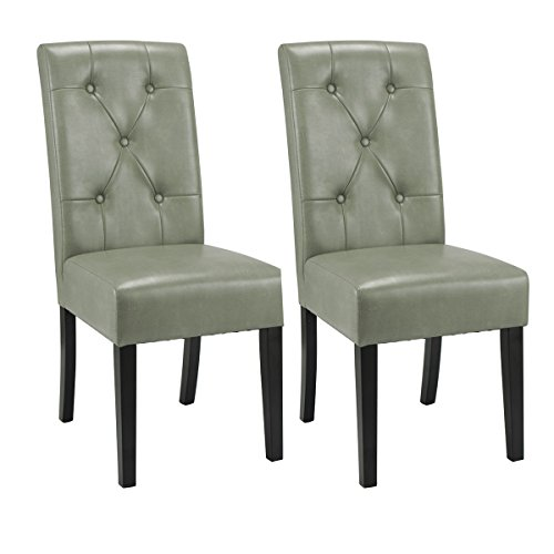 (Giantex Set of 2 Dining Chairs Tufted PU Leather High Back Armless Accent Home Kitchen(Celadon) )