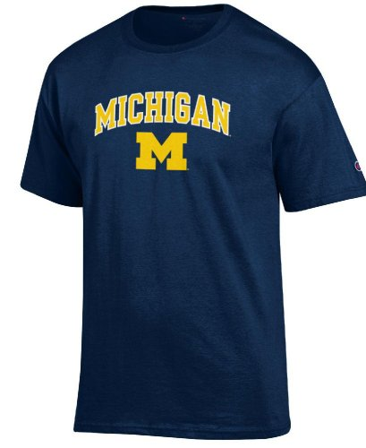 Michigan Wolverines Short Sleeve Shirt - Michigan Wolverines Arched Stadium Short Sleeve T Shirt by Champion (Large)