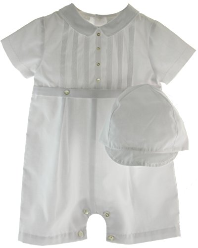 Boys White Christening Baptism Outfit with Hat Set 18M Sarah Louise - Sarah Louise Hat