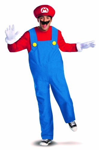 Disguise Super Mario Deluxe Mens Adult Costume, Red/Blue, X-Large/42-46 (Super Mario Costume For Men)