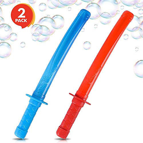 ArtCreativity Ninja Bubble Sword (Set of 2)   14.5 Bubble Blowing Wands for Kids with Fluid Included   Great Summer Outdoor Toy/ Party Favor/ Gift Idea for Boys and Girls (Red and Blue) by ArtCreativity