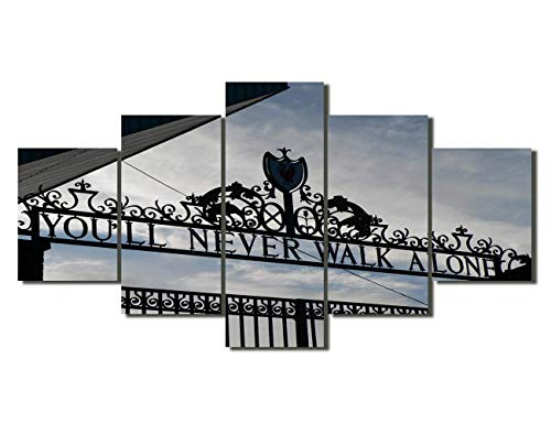 NATVVA Pictures for Living Room Wall Art 5 Panel Canvas Gate of Football Club at Stadium Paintings Pictuers Home Decor Artwork Framed Ready to Hang Posters and Print ()