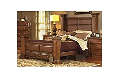 Panel Bed in Antique Pine Finish (Queen - 71 in. L x 70 in. W x 9 in. H)