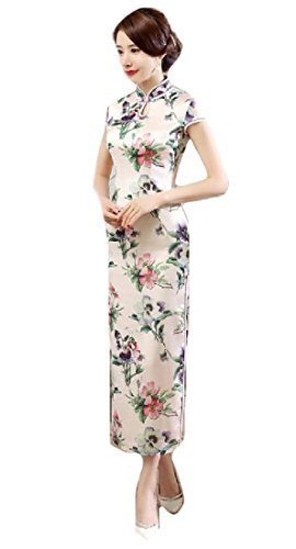 Maxi Business Dress Folk Style Cheongsam Coolred Split White Premium Qipao Women gHqxT71