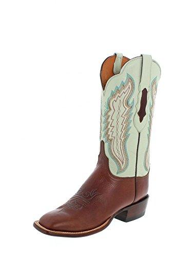 Lucchese Cl8006.w8 Femmes Cuir De Veau Beige Bucaneer Cuir Cowboy Western Bottes Tan / Soft Vert