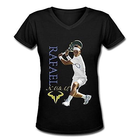 FHY Women's Rafael Nadal U.S. Open 2015 V-Neck T-shirtS XX-Large (Cool Calenders 2015)
