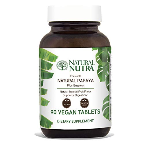 Natural Nutra Papaya Chewable Plant Enzymes for Digestion, Bloating, Gas and Constipation Relief with Papain, Protease, Bromelain, Amylase and Protease, 90 Chewable Vegan Tablets