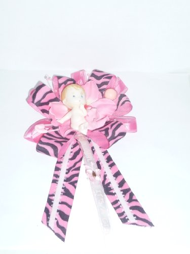 Safari Jungle Zoo Zebra Baby Shower Corsage for Mom Girl (It's a Girl Animal Print Pink) ()