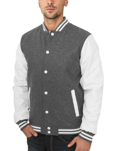 Grey Urban Classics Oldschool Bekleidung Giacca Jacket Uomo white College qHw0PpxH