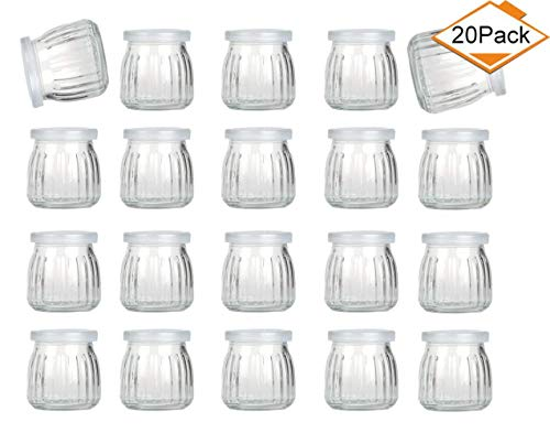 Encheng 4 oz Clear Glass Jars With Lids,Glass Yogurt Container With Caps(PE),Replacement Glass Pudding Jars Yogurt Jars,Clear Glass Containers For Milk,Ramekin,Jams,Jelly,Mousse 20 Pack