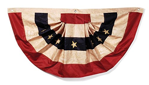 (Darice 2508-93 Tea Stained American Flag Bunting – Display Stars and Stripes on Holidays or All Year Long - Indoor or Outdoor Use – Polyester, 48