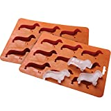jieGREAT Dachshund Ice Cube Tray Silicone Dog Shape Mold Candy Making Gelatin Setting Set of Two