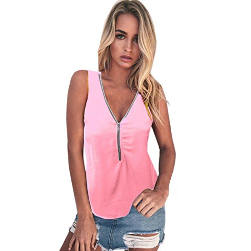 WuyiMC Women's Loose Fit Zipper Front Woven Tank Top Blouse Sleeveless Shirt With Plus Size (XL, Pink)