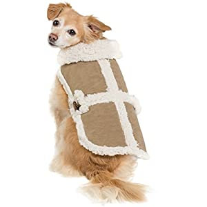 Shearling Suede Vest Coat Warm Cozy Winter Jacket Furry Pet Puppy Dog Holiday Clothes Costume Outwear Coat Apparel Cat Small