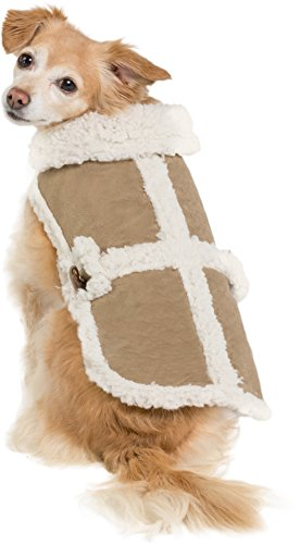 Shearling Suede Vest Coat Warm Cozy Winter Jacket Furry Pet Puppy Dog Holiday Clothes Costume Outwear Coat Apparel Cat (Suede Dog Coat Jacket Clothes)
