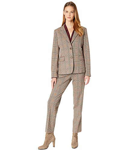 Tahari by ASL Women's Notch Collar One-Button Flap Pocket Corduroy Trim Pants Suit Tobacco/Ivory ()