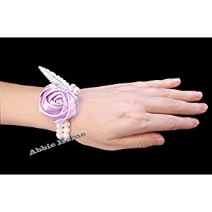 Abbie Home Bridesmaid Wedding Wrist Corsage Party Prom Girls Hand Rose Flower Decor Pack of 2/4/6 (1 pc, Purple) 55