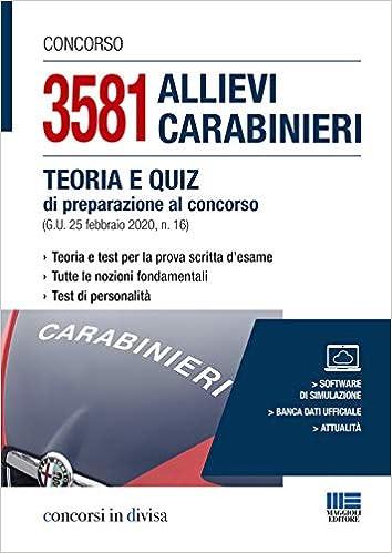 Concorso 1096 allievi Carabinieri Teoria e test per la preparazione completa a
