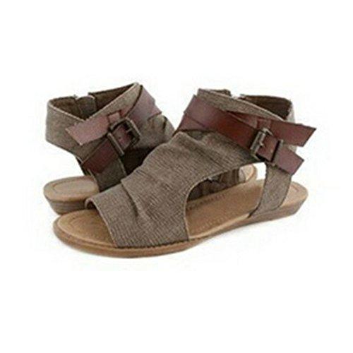Dihope Femme Eté Rétro Sandales Plates Chaussures de Plage Thongs pour Maison Vacances Piscine Brun 9vaEe8