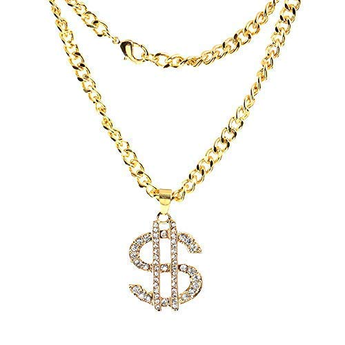 ViShow Hip Hop Style Dollar Sign Alloy Pendant Surfer Chain Necklace Gold Unisex Jewellery Best for Your Lovers Girlfriend Mom