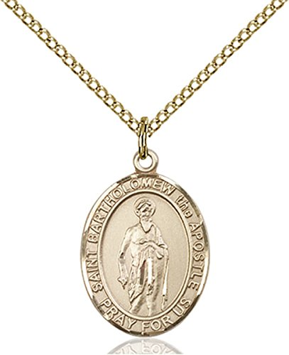 (14K Gold Filled Saint Bartholomew the Apostle Medal Pendant, 3/4 Inch)