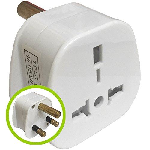 TheBigShip® Travel Adaptor Plug 3 Pin UK To 3 Round Pin SA South Africa Adapter White 1 Adapter