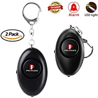 Personal Alarm, 2 Pack Pripaso 120db Emergency Personal Safety Alarm Keychain with LED Flashlight Security Alarm Self Defense Alarm for Elderly, Women, Girls,Kids,as a Bag Decoration( Black)