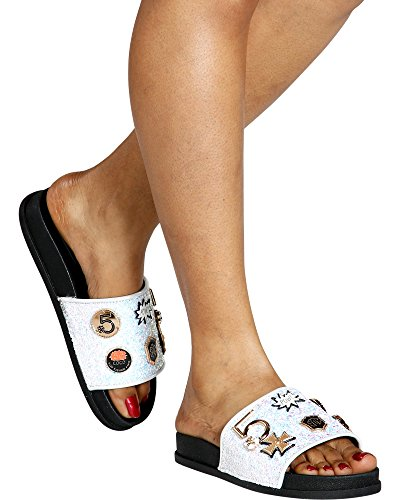 Cape Robbin Moira-25 Women Slides Flip Flop Glitter Metal Pendant Ornament Sandal White (11)