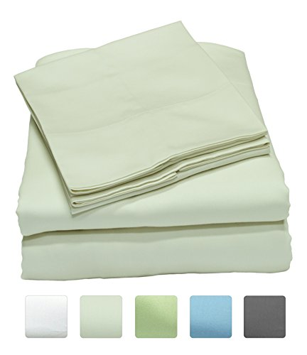 300 Thread Count 100% Long Staple Cotton Sheet Set, Soft & Silky Sateen Weave, Queen Bed Sheets, Elastic Deep Pocket, Hotel Collection, Wrinkle Free, Luxury Bedding, 4 Piece Set, Queen - Ivory