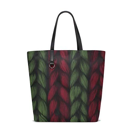(Women Weave Plait Red Green Texture Pattern Handle Satchel Handbags Shoulder Bag Tote Purse Messenger Bags)
