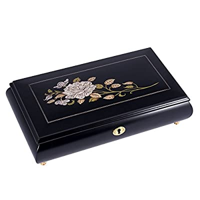 Black with Pearl Rose Italian Handmade Inlaid Wood Musical Jewelry Box - Plays Clair de Lune