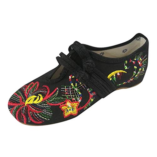 Women Vintage Retro Ethnic Style Embroidered Shoes Sneakers Soft Bottom Single Shoes Slip On Casual Shoes by Lowprofile