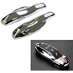 iJDMTOY (1) Exact Fit Metallic Chrome Silver Smart Remote Key Fob Shell For Porsche Cayenne Panamera Macan 911, etc