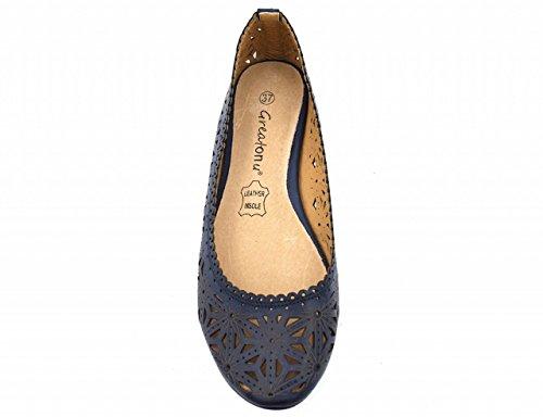Womens Cut Flat Ballerina Blue Out Shoes Greatonu Flower AzWHAd