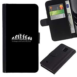 ZONECELL Imagen Frontal Negro Cuero Tarjeta Ranura Trasera Funda Carcasa Diseño Tapa Cover Skin Protectora Case Para Samsung Galaxy Note 4 SM-N910 - evolución divertida del hombre