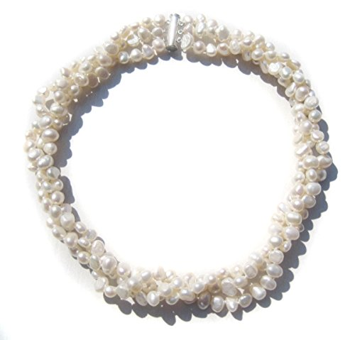 TreasureBay Fab Modern Twist Cultured Freshwater White Baroque Pearl Three-Strand Chunky Necklace With A Sliding Silver Clasp