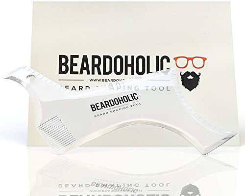 Beard Shaper - Advanced Design All In One Beard Shaping Tool with Templates - Transparent for Easier Alignment and Styling - Beard Trimming Guide for Facial Hair by Beardoholic