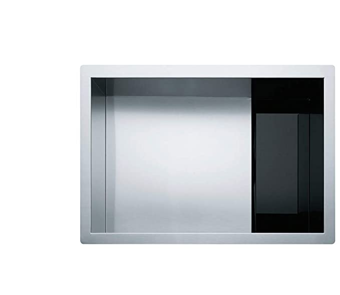 Franke USA (FRADF) Franke Crystal 26.5-in x 9-in Hidden Drain Undermount Single Bowl Stainless Steel Kitchen Sink in Silk Finish, CLV110-24 - - Amazon.com