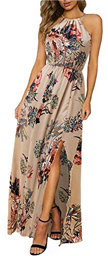 Aliling Women's Halter Floral Print Party Dresses Side Split Beach Maxi Dress (XL, Apricot)