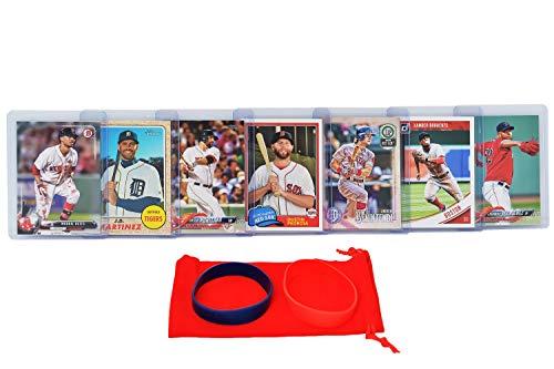 Boston Red Sox Baseball Cards: Mookie Betts, J.D. Martinez, Dustin Pedroia, Xander Bogaerts, Mitch Moreland, Andrew Benintendi, Eduardo Rodriguez ASSORTED Trading Card and Wristbands Bundle Boston Red Sox Baseball Cards