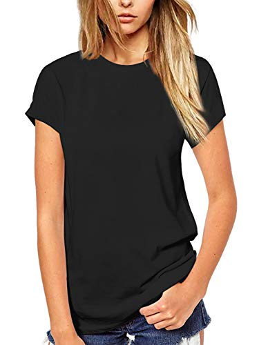 (Beluring Women's Summer Shirts Short Sleeve Tops Solid Color Basic Tees (S,Black))