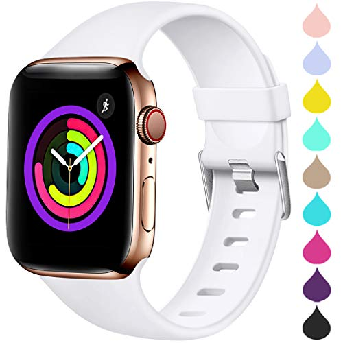 (Haveda Sport Band Compatible for Apple Watch 42mm 44mm, Soft TPU Bands for iWatch, Apple Watch Series 4, Series 3, Series 2, Series 1 Women Men, White 42mm/44mm M/L)