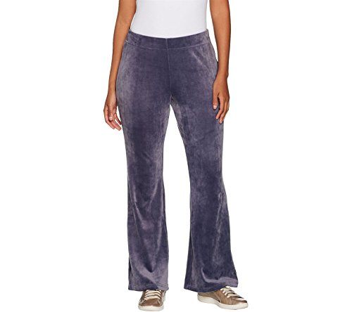(AnyBody Loungewear Velour Flare Pants A297303, Frosted Plum, XS)