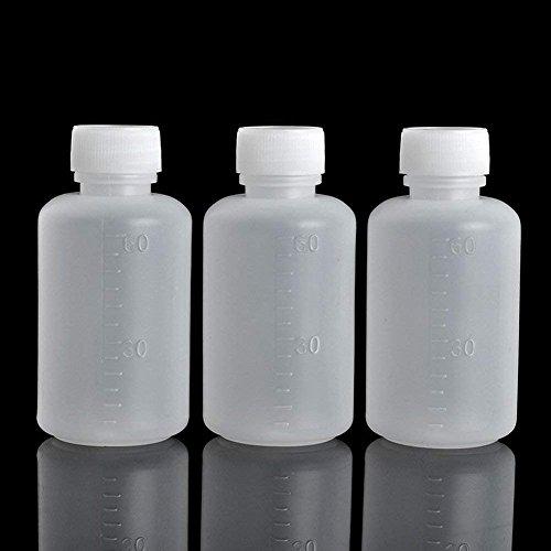 - GDGY 40pcs 60ml 2OZ PE Plastic Empty Small Mouth Graduated Lab Chemical Container Reagent Bottle Sample Sealing Liquid Medicine Bottle (40pcs 60ml, 2.03)