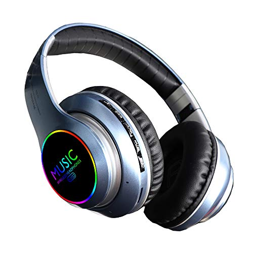 Bluetooth Over Ear Headphones, LED Light Up Wireless Headphones,Hi-Fi Stereo Foldable Wireless/Wired Headsets with Mic,Micro SD/TF, FM for iPhone/Samsung/iPad/PC/Kindl/Laptop/TV(Blue)