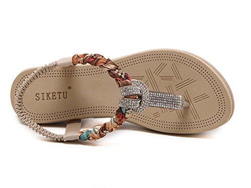 Zapatos Albaricoque Diamante Peep Casual Mujer Plana Sandalias Bohemia Toe 8Rq0AxnwH
