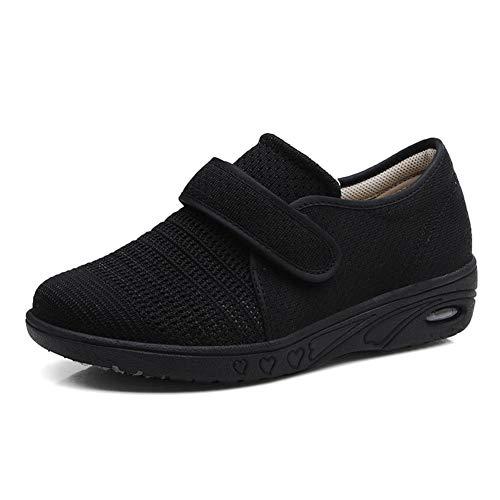 W&Le-Slippers Women's Adjustable Diabetic Slippers - Extra Wide Width Arthritis Edema Footwear (7, Black) (Extra Extra Wide Shoes For Swollen Feet)