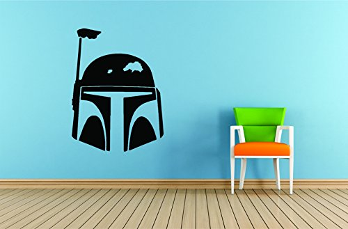 Darth Vader Helmet Art (STAR WARS WALL DECALS/SOLO Vinyl Art for walls/George Lucas/Space Science Fiction/Removable Wall Designs Kids Bedroom rooms Luke Skywalker Han SOlo Darth Vader Helmet Size 20x20 inch)
