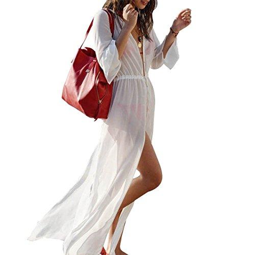 Women Long Cover Ups for Swimsuits Full Sleeve Beach Sundress Cardigan US2-14