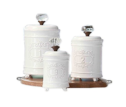 Mozlly Multipack - Mud Pie White Ceramic Footed Glass Door Knob Canisters - Vintage - 10 inch, 9 inch and 7.5 inch - Kitchen Storage (3pc Set) (Pack of 6)